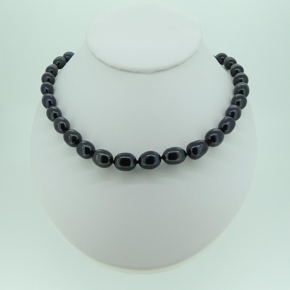 8mm pearl necklace : Mm black rice pearl necklace mhpearljewellery