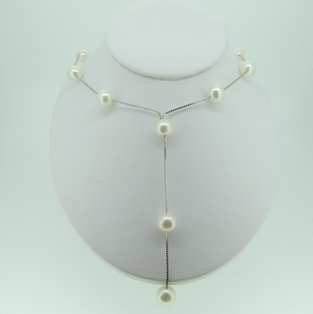 Silver Chain Pearl Necklace Mhpearljewellery Co Uk